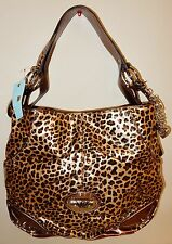 New Kathy Van Zeeland Patent Triple Compartment Hobo Bag Leopard