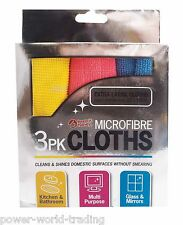 3 x MICRO FIBRE CLOTHS SOFT DUSTER KITCHEN CAR CLEANING GLASS MIRROR FURNITURE