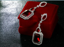 18k White Gold GF 925 Silver Post Earrings w Swarovski Garnet Red Stone Gorgeous