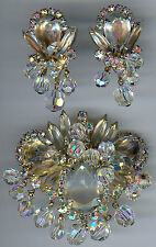 JULIANA VINTAGE DAZZLE AB FACETED GLASS CRYSTALS & RHINESTONE PIN & EARRINGS SET
