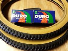 "2-20x1.75 DURO BMX BICYCLE TIRES 2-20"" INNER TUBES & FREE RIM LINERS *GUM WALLS"