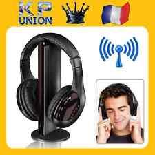 CASQUE AUDIO POUR PC 5 EN 1 SANS FIL ECOUTEURS Hi-Fi RADIO FM TV MP3 MP4 NEUF