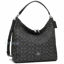 New Coach F55365 Outline Signature Celeste Hobo Crossbody Bag Smoke Black NWT