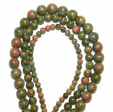 GR247 3-Strand Orange & Green Unakite Epidote 4mm 6mm 8mm Round Gemstone Beads