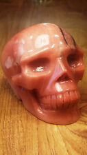 Natural Chinese Orange Red Aventurine Hand Carved Realistic Crystal Skull 588g