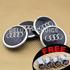 4 Black Car Alloy Wheel Center Hub Cap Emblem Badge Logo 69mm AUDI no 4B0601170A
