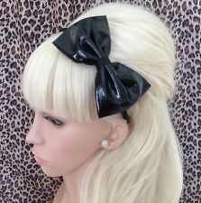 "NEW BLACK SHINY PVC FABRIC WET LOOK 5"" SIDE BOW ALICE HAIR HEAD BAND GOTHIC"