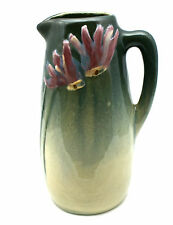 "WELLER 6"" ETNA CONE FLOWER & LEAVES MARKED HANDLED PITCHER Circa 1906 CLASSIC"