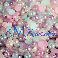 100pcs Pastel Mixed Colours 10mm Flat Back Half Round Resin Pearls Craft Gems