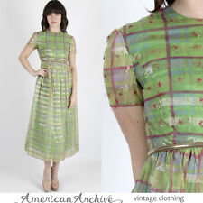 Vintage 60s Malcolm Starr Dress Green Plaid Chiffon Metallic Cocktail Party Maxi