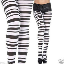 Opaque Black & White Horizontal Wide Thin Striped Tights Punk Ravewear Pantyhose