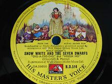Schneewittchen MÄRCHEN Schellackplatte Walt Disney HMV 78rpm 78upm 7 Zwerge FILM