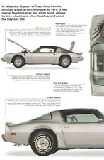 1979 Pontiac Firebird Trans Am 10th Anniversary Article - Must See !!