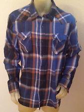 NWT Levi's Navy Blue Plaid Button WESTERN Shirt w/POCKETS Mens size XXL 2XL