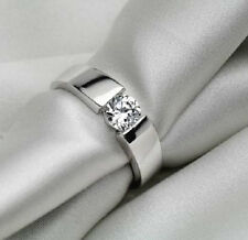 PLATINUM PLATED CZ CRYSTAL ENGAGEMENT BAND RING. SIZE L, M, P1/2