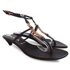PRADA Rose Metal Chain Ankle Strap Thong Sandals - Brown - Size 35