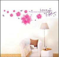 Pink Butterfly Flower Wall Stickers Mural art Decal Wallpaper Decor REUSABLE