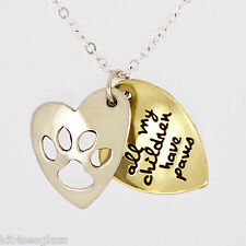 """Far Fetched All My Children Have Paws NECKLACE 16-18"""" Chain Dog Cat Gift Boxed"""