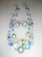 Beautiful Vintage Double Blue Beaded Necklace with Matching Earrings by KARU