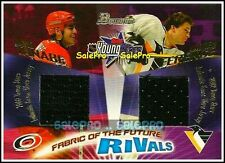 BOWMAN 2001 DAVID TANABE ANDREW FERENCE NHL RARE RIVALS DUAL GAME JERSEY /250