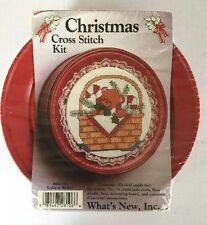NEW CHRISTMAS CROSS STITCH KIT TEDDY IN BASKET METAL TIN #28106 WHAT'S NEW