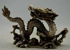 Collectible Decorated Old Handwork Tibet Silver Carved Dragon Hold Ball Statue z