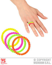 Neon Rings - Set of 4 Jewellery for 60s 80s Glow Party Fancy Dress Accessory