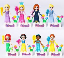 8Pcs Disney Princess Mini Building Blocks Snow White Cinderella Minifigures Gift
