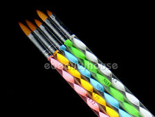5 sizes 2 Ways Acrylic Brush Cuticle Pusher Nail Art #45E