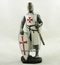 Crociato Cavaliere Medioevale Figura 17cm Alto Bianco SCUDO & Costume Statua Figurina