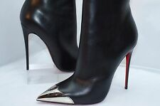 Christian Louboutin Womens Calamijane Shoes Black Ankle Boots Heel Size 40.5 NIB