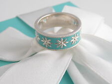 Tiffany & Co New Silver Daisy Blue Enamel Ring Size 6 Packaging Box Pouch Ribbon