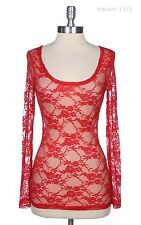 Women's Floral Lace Top Round Neck Long Sleeve Layering Shirt Stretchable S M L