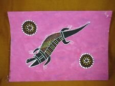 AUS-22 Crocodile pink Australian Native Aboriginal PAINTING Artwork T Morgan
