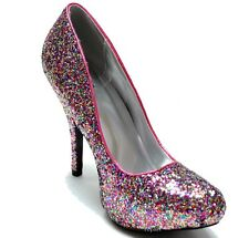 Fuchsia Pink Glitter Almond Toe High Heel Dress Pump 6.5 us  Qupid Tizzy-28