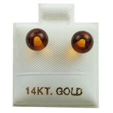 14K Yellow Gold - 6mm Amber Ball Stud Earrings (GE419)