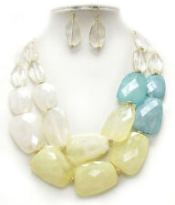 CHUNKY Multi  Acrylic Stone Pale Yellow And Light Blue  Double  Necklace Set