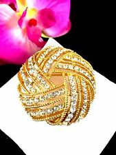 EXQUISITE 1963 CROWN TRIFARI GOLDTONE CRYSTAL RHINESTONE CAVALCADE WOVEN  BROOCH