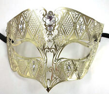 Gold Male Diamond Crystal Laser Cut Venetian Masquerade Metal Filigree Mask Men