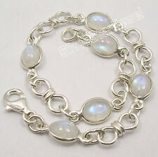 925 SOLID Silver Fiery RAINBOW MOONSTONE Beautiful KNOT Bracelet  8 Inches