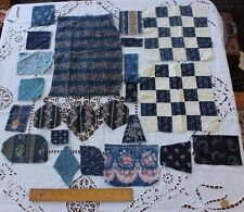 Lot Of Antique 19thC Printed Indigo Cotton Fabrics~French&American~Quilter,Dolls