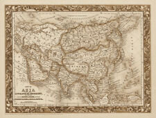 """Vintage Old Map of Asia 1850's colton CANVAS PRINT 16""""X12"""""""