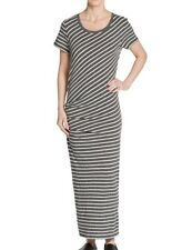 JAMES PERSE Shirred Side Stripe Tucked Tee Maxi Dress Sz 1 S Small Charcoal NWT