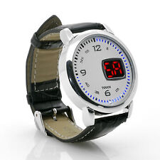 """LED Touch Watch """"Chess"""" - Leather Strap, LED Time Display (White)"""