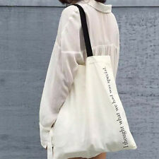 White Cotton Canvas Fabric Shoulder Bag ECO Shopping Tote Print I Thought WJ12 B