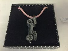 Willys Jeep ref309 Pewter Effect Car Emblem On Pink Cord Necklace Handmade 41CM