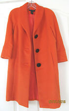 NWOT Grace elements Polyester Wool Orange Below Knee Lined Winter Coat Women 6