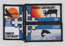 2003 World Scout Jamboree FINLAND / FINNISH SCOUTS CONT IST & STAFF Patch SET