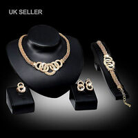 UK Wedding/Party/Statement Rose Gold Crystal/Diamante Jewellery Necklace Set