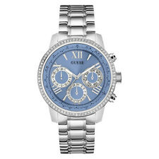 NEW GUESS WATCH Women * Blue Dial Shiny Silver Stainless Steel Bracelet U0559L4